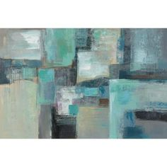"""Abstract Blue Squares, 23"""" x 35"""" (painting done in Mexico and is named titled """"Sea Foam,"""" not Abstract Blue Squares as shown on website)"""