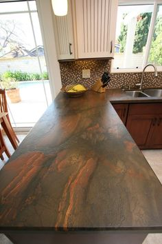 Kitchen Sink Remodel copper dune granite kitchen traditional with leathered granite stainless steel kitchen faucets Countertop Concrete, Outdoor Kitchen Countertops, Kitchen Countertop Materials, Granite Kitchen, Granite Countertops, Kitchen Cabinets, Copper Kitchen, Kitchen Counters, Kitchen Tile