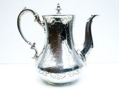 Victorian Silver Coffee Pot Antique Sterling by DartSilverLtd