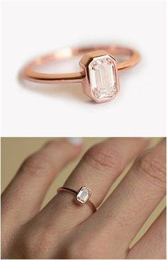 18k Rose Gold Diamond Ring / http://www.deerpearlflowers.com/sapphire-engagement-rings/
