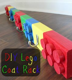 Make a DIY Lego Coat Rack! Tutorial via DIYontheCheap.com.