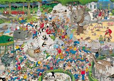 1000 pcs jigsaw puzzle: Jan van Haasteren - The Zoo (Cartoon, Animals) - Jumbo Zoo Art, Wheres Wally, Le Zoo, Picture Writing Prompts, Puzzle Art, Hidden Pictures, Wallpaper S, 1000 Piece Jigsaw Puzzles, Retro