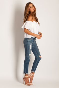 Stone Cold Fox Holy Tube Top in Eyelet + ripped jeans