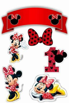 Minnie First Year Free Printable Cake Toppers. Minnie Mouse Party, Minnie Mouse Stickers, Minnie Mouse Cake Topper, Minnie Mouse Birthday Decorations, Deco Stickers, Minnie Png, Minnie Cake, Mickey Party, Mickey Mouse Birthday