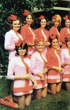 The airline hostess/stewardess.   Looks like PSA Airlines (Pacific Southwest) of the 1960's