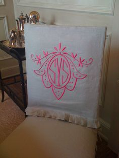 Custom monogrammed slipcover, featuring the Delcambre style, designed by Leigh Taylor Interiors. Via Leontine Linens. Dining Room Chair Slipcovers, Dining Room Chair Covers, Embroidery Monogram, Embroidery Ideas, Leontine Linens, Custom Slipcovers, Dining Room Inspiration, Interior Inspiration, Up House