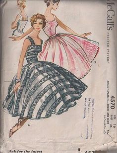 MOMSPatterns Vintage Sewing Patterns - McCall's 4570 Vintage 50's Sewing Pattern STUNNING Audrey Hepburn Look Rockabilly Camisole Strapped Bodice Blouse, Full Flared Petticoat Worthy Circle Skirt & Sheer Overskirt, 2 Piece Gala Gown, Dress