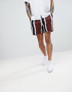 1e4bfda05 DESIGN slim shorts in block stripe print