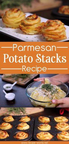 Recipe World Parmesan Potato Stacks Recipe - Recipe World Potato Dishes, Food Dishes, Potato Recipes, Savoury Recipes, Parmesan Potato Stacks Recipe, Potato Stack Recipe, Snacks Sains, Pasta, Side Dishes