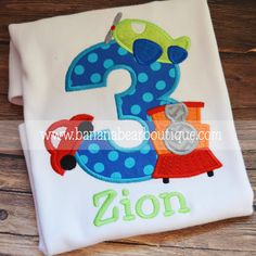 Planes Trains and Automobiles Applique Birthday Shirt - Ocean dots on Etsy, $26.00