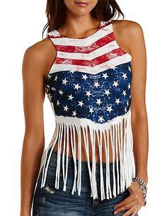 Americana Fringe Crop Top: Charlotte Russe #fringe #flag