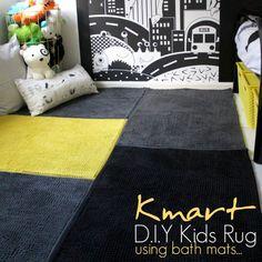 DIY Kids Rug using bath mats. By Land of Zonkt