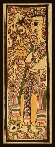 Lord Ganesha depicted in Madhubani style of art. The artist of this piece is a 70 yr old national award winner. Such brilliance and intricacy !