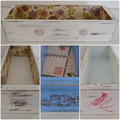 De cajoncitos y sellos Sewing Machine Drawers, Decoupage Vintage, Collage, Repurposed Furniture, Chalk Paint, Stencils, Recycling, Decorative Boxes, Shabby Chic