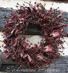 AMERICANA RAG & BERRY WREATH FROM ECHINACEA FARMS