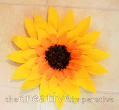 The Creative Imperative: Sunflowery Wreath-- felt, coffee beans, and a paper plate