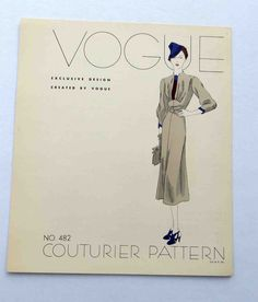 """1930s Vogue Couturier Dress Pattern Style # 482  Display """"Page""""  Dress"""
