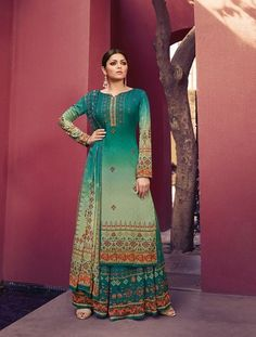 This suit is beautified with digital print all over. It comes with a matching digital printed sharara and chiffon digital printed dupatta. Palazzo With Kurti, Palazzo Suit, Indian Designer Outfits, Designer Dresses, Designer Clothing, Festival Wear, Festival Fashion, Indian Dresses, Indian Outfits