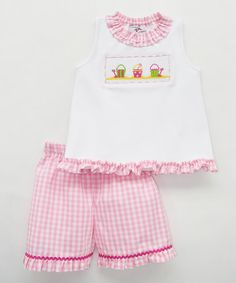 Love this Pink Sand Pail Smocked Shorts & Top - Infant, Toddler & Girls on #zulily! #zulilyfinds