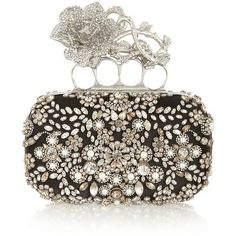 Alexander McQueen Knuckle Swarovski pearl and crystal-embellished silk... ❤ liked on Polyvore featuring bags, handbags, clutches, knuckle purse, silk purse, white box clutch, alexander mcqueen clutches and alexander mcqueen purse
