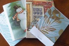 Fold and staple white (one-sided) paper into a old Christmas card to make a small notepad. Genius!