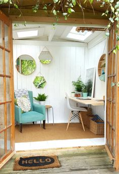 Shed? Ideas for an in-home studio space/shooting space/yoga-meditation space/makeup station.Ideas for an in-home studio space/shooting space/yoga-meditation space/makeup station. Backyard Storage Sheds, Shed Storage, Backyard Sheds, Outdoor Sheds, Tool Storage, Summer House Interiors, Office Interiors, Garden Shed Interiors, Studio Hangar