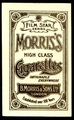 Cigarette Card Back - Morris of London by cigcardpix