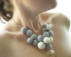 needle felted jewelry | Delicate needle felted necklace from Rebecca's emporium