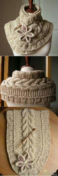 21 Ideas For Crochet Scarf Cowl Neck Warmer Free Knitting Knit Cowl, Knitted Shawls, Crochet Scarves, Cowl Scarf, Scarf Wrap, Knitting Scarves, Cowl Neck, Cable Knit, Knitting Projects