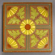 "Maw and Co impressed line and part majolica glazed dust-pressed tile with four stylized flowers radiating from a central floret. Red body with yellow and green majolica glazes over part of the design only. 6"" square, c1880"