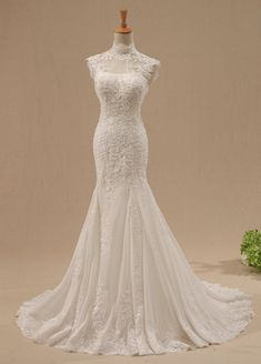 Long lace Mermaid Wedding Dress  Cheap Wedding Gown / by DressHome, $359.99