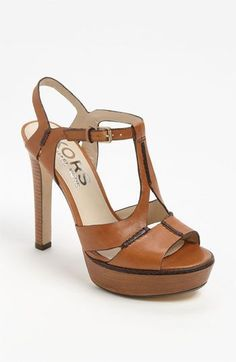 KORS Michael Kors 'Brookton' Sandal available at Cheap Michael Kors, Michael Kors Outlet, Handbags Michael Kors, Michael Kors Shoes, Cute Shoes, Me Too Shoes, Zapatillas Peep Toe, Beautiful Shoes, Fashion Shoes
