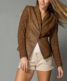Look what I found on #zulily! Camel Lace Faux Leather Blazer - Women #zulilyfinds