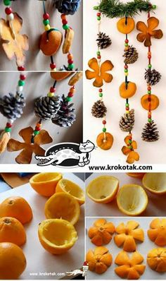 Dried orange peel and little pinecone garland for fall equinox Here is another Christmas ideas .Use orange peel to make some fabulous Christmas decorations . Such as orange peel rose centerpiece, hanging Natural Christmas, Noel Christmas, Diy Christmas Ornaments, Homemade Christmas, Winter Christmas, Orange Ornaments, Christmas Ideas, Beaded Ornaments, Fall Crafts