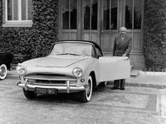 1956 Simca Plein Ciel Coupé | Henri Pigozzi (Simca CEO) with the prototype