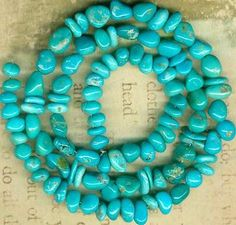 """Castle Dome Turquoise Beads Arizona """"Pinto Valley"""" 5 7mm Genuine Color 2 Shapes 