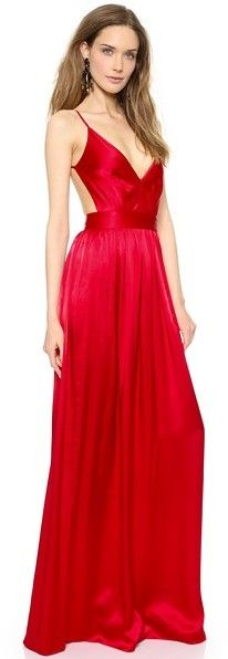 Long silk dress with a deep V neck and an open back (with a link to buy online) / #TheRedDress #LaRobeRouge