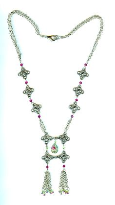 ROSEBUD: Long Chain and Crystal Double Tassel Necklace