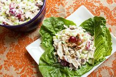 skinny chicken salad recipe serves 8 serving on lettuce