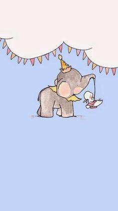You make me happy Elephant Wallpaper, Animal Wallpaper, Cute Disney Wallpaper, Cute Cartoon Wallpapers, Cute Animal Drawings, Cute Drawings, Wallpaper App, Screen Wallpaper, Baby Drawing