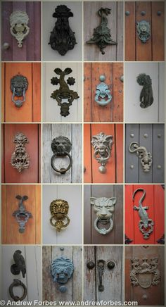 Original iron door knockers in Cartagena de Indias' old town - icons depicted the trade of the home owners. e.g. Lions depicted teachers... They are beautiful