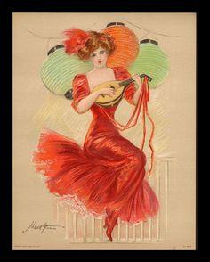 Maud Stumm 1866 1935 Pretty Gal Plays Mandolin Litho 1909 Gray Litho Co | eBay