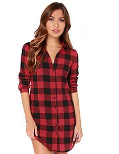 Mulheres+Camisa+Casual+Simples+Verão,Quadriculada+Vermelho+/+Preto+Algodão+Colarinho+Chinês+Manga+Longa+Fina+–+EUR+€+6.85