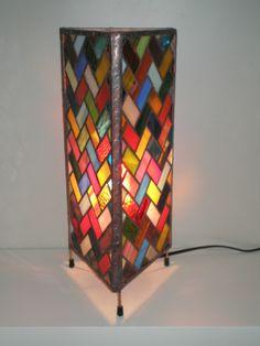 Herringbone pattern stained glass column table lamp   eBay