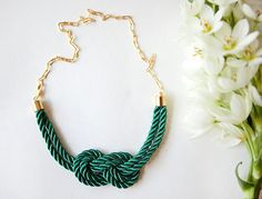 Emerald Green Nautical Knot  Rope Necklace with golden chain by pardes israel. $35.00, via Etsy.