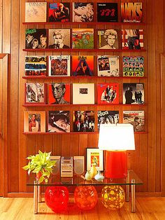 Record display shelves - for all your bad 80's records. Keep the good ones near the turntable. :)