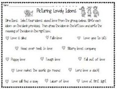 Free! Picturing Lovely Idioms  Valentines Day Activity Creative Teaching, Student Teaching, Teaching Ideas, Valentines Day Holiday, Valentines Day Activities, Speech Activities, Language Activities, Speech Pathology, Speech Therapy