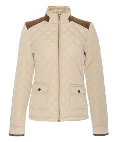 Look what I found on #zulily! Beige Faux Suede-Accent Quilted Puffer Jacket #zulilyfinds