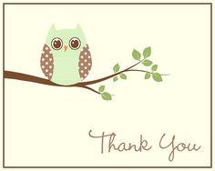Cartes de remerciement chouette bébé douche par TheInviteLadyShop
