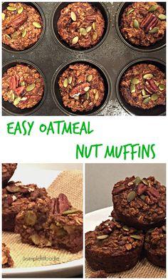 Easy Oatmeal Nut Muffins via @simplefitfoodie